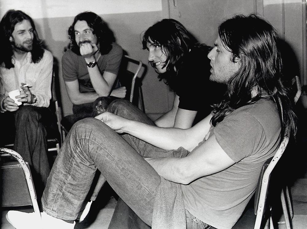 Pink Floyd backstage at The Dome, Brighton in 1972 taken by Jill Furmanovsky