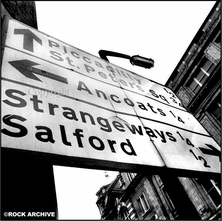 Strangeways Road sign from the back of the 'Strangeways, Here We Come' album shot by © Stephen Wright in 1987 - (This image is available to buy below)