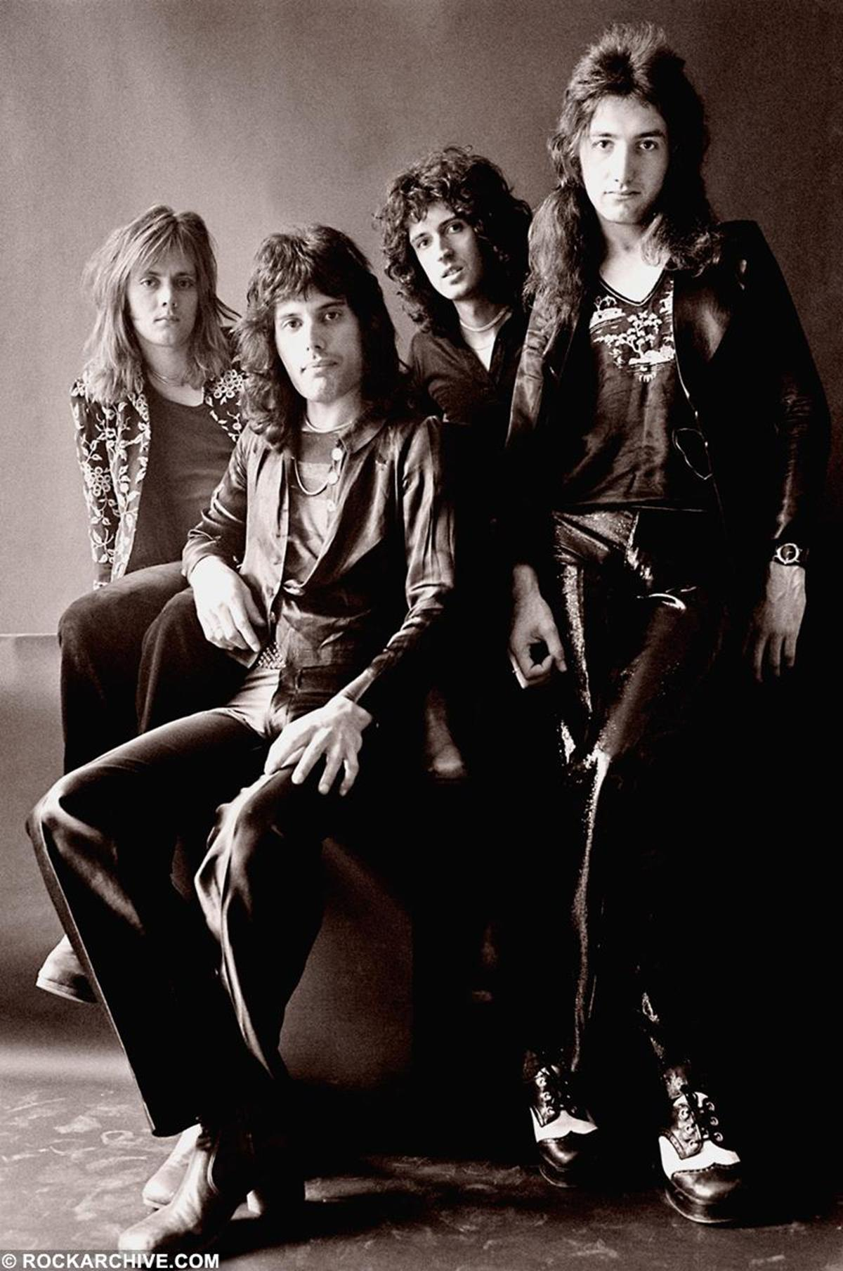 The first ever studio shoot with Queen taken at Primrose Hill, London 1974. © Johnny Dewe Mathews