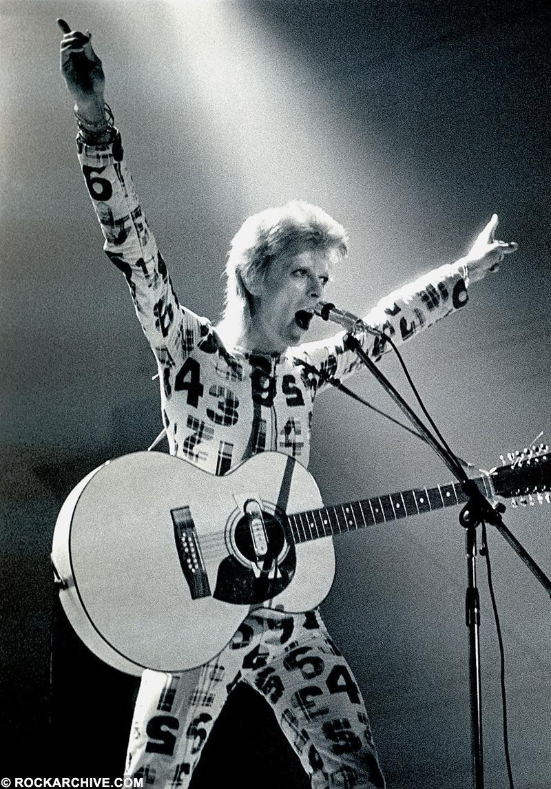 David Bowie Performing as Ziggy Stardust at Newcastle City Hall in 1973. © Ian Dickson
