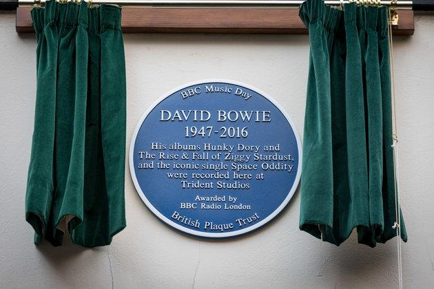 David Bowie blue plaque at Trident Studios, Soho. Image courtesy of the BBC