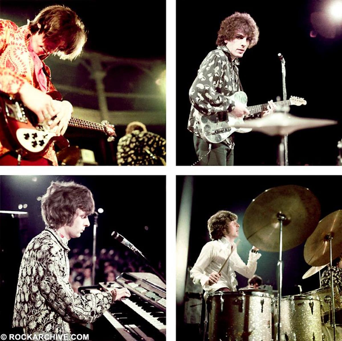 The original members of Pink Floyd onstage at the Roundhouse, London in July 1967. © Colin N. Purvor