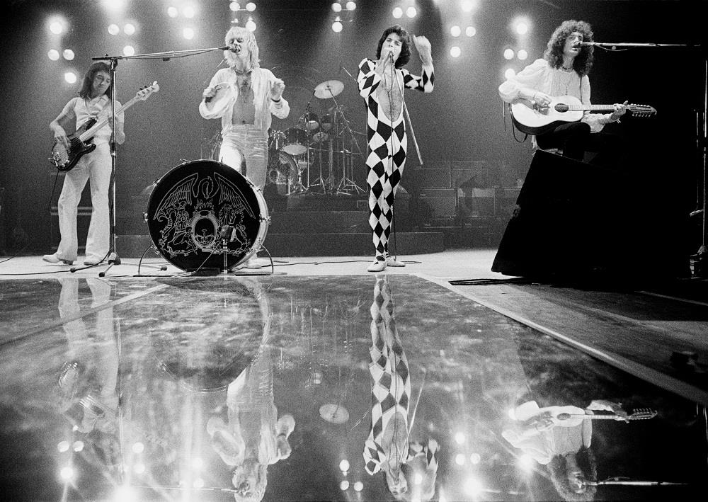 Queen photographed by Jorgen Angel at Brøndby Hallen, Copenhagen in on their Day At The Races Tour in 1977