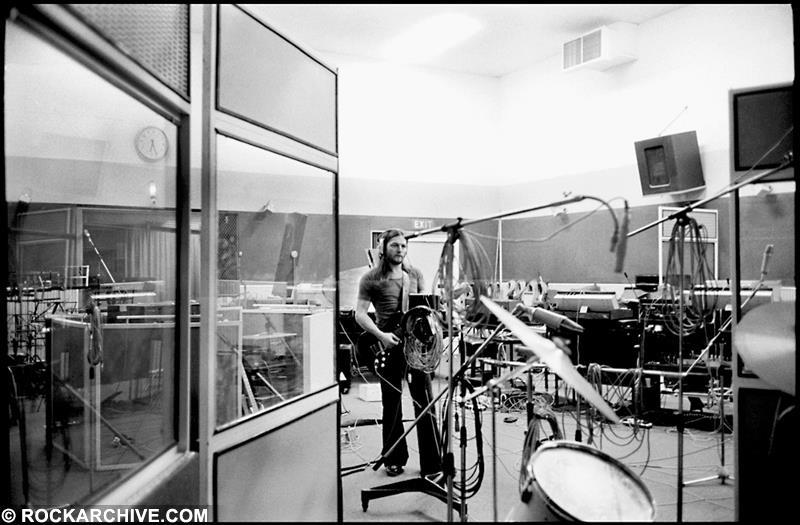 David Gilmour with 'The Black Strat' during the recording session for 'Have a Cigar' from 'Wish You Were Here', taken in Studio 3 of Abbey Road Studios. © Jill Furmanovsky