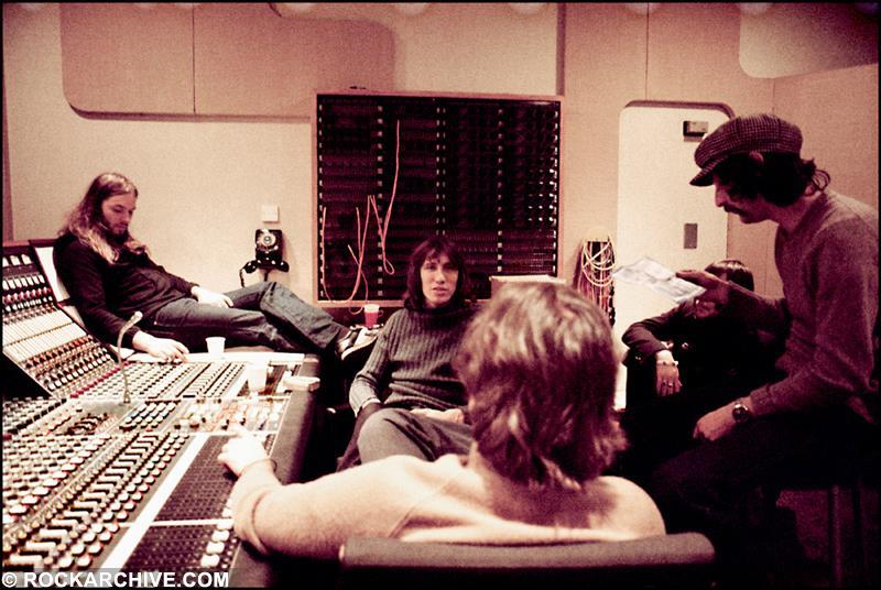 The band in Abbey Road Studios during recording of 'Wish You Were Here'. © Jill Furmanovsky