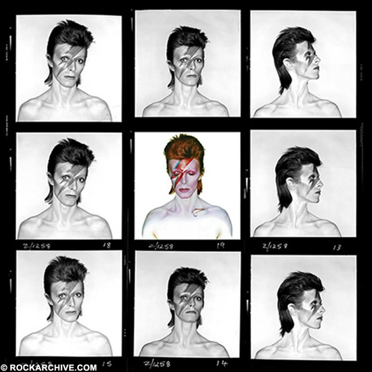 Aladdin Sane contact sheet - apart from the Kodak Ektachrome colourfilm, Duffy also shot two rolls of black and white film. This contact sheet was put together by Duffy's son Chris and includes the original colour album cover image. © Brian Duffy
