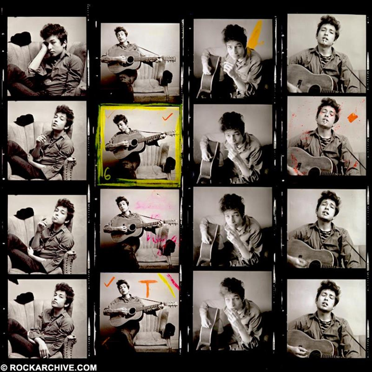 Early set of contact sheet photos by Don Hunstein taken of Bob Dylan in his New York apartment on West 4th Street in 1963. © Don Hunstein