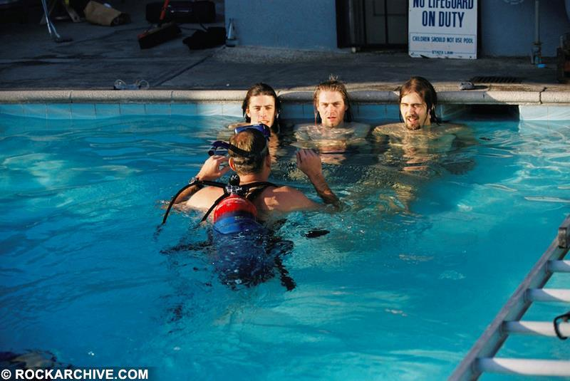 Taken on the set for a Nirvana publicity shoot for their album 'Nevermind'. © Kirk Weddle