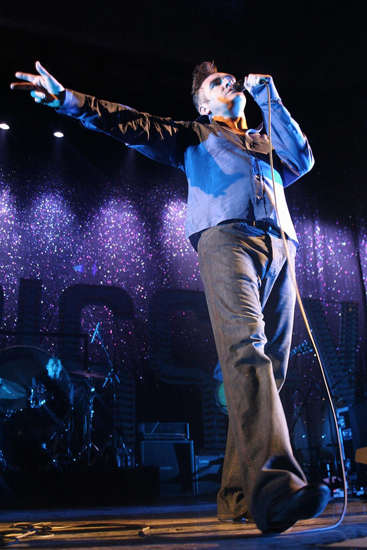 Morrissey performs at his own Meltdown Festival 2004 © Mark Mawston. To buy a limited edition print of this photograph please contact Rockarchive at info@rockarchive.com
