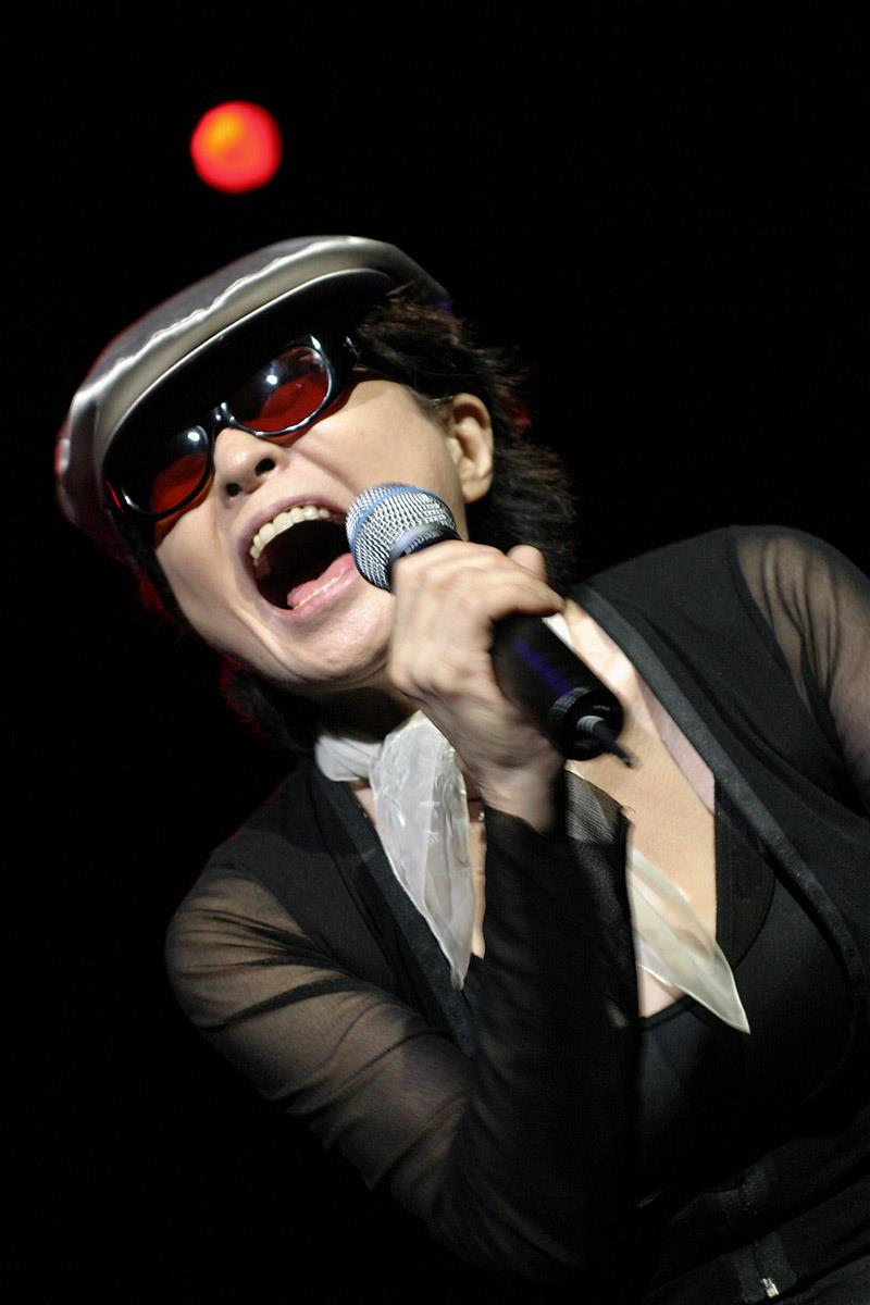 Yoko Ono performs at Meltdown 2005 curated by Patti Smith. © Mark Mawston. To buy a limited edition print of this photograph please contact Rockarchive at info@rockarchive.com