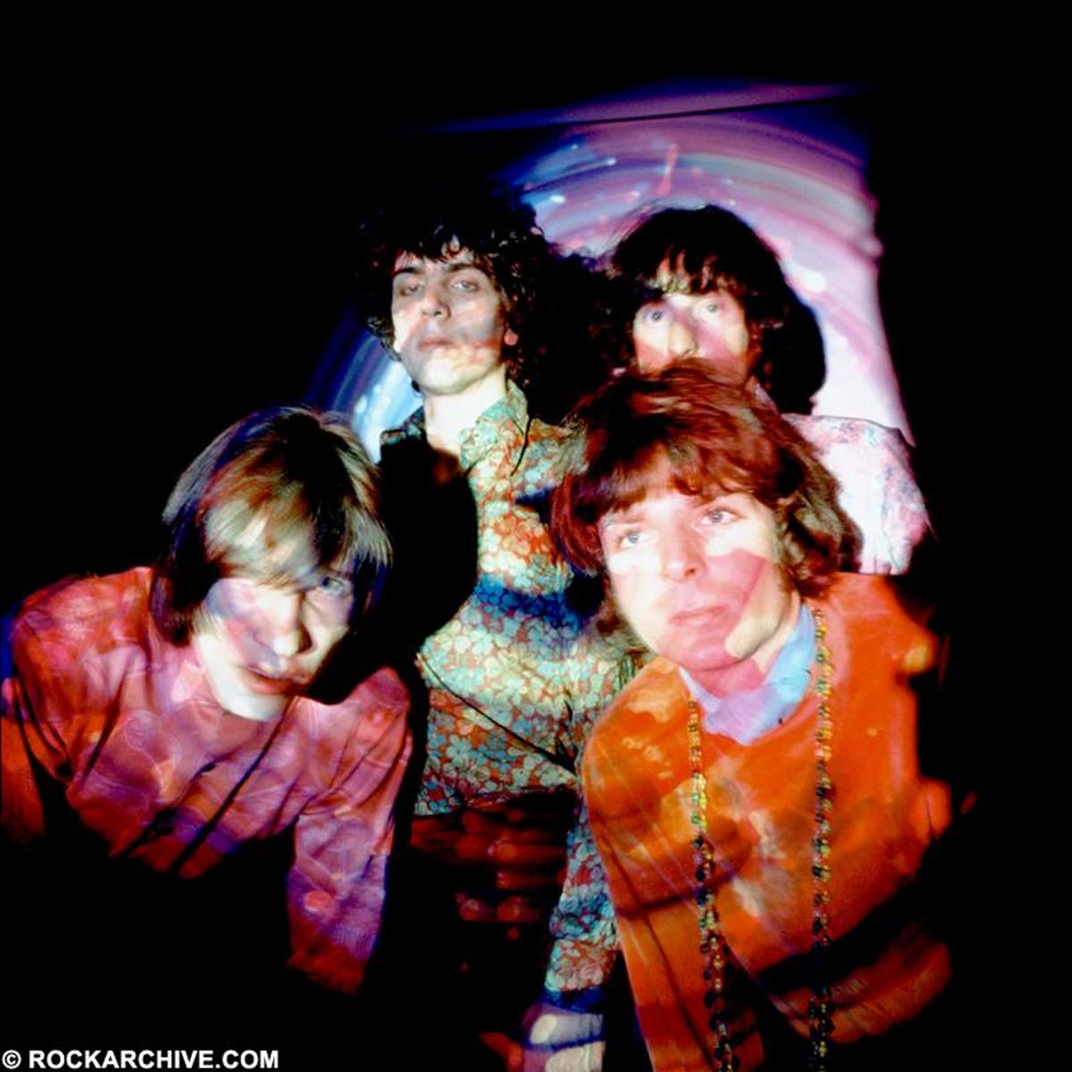 Pink Floyd in an early shoot in 1967. This image was used in the Pink Floyd V&A exhibition 'Their Mortal Remains'. © Andrew Whittuck