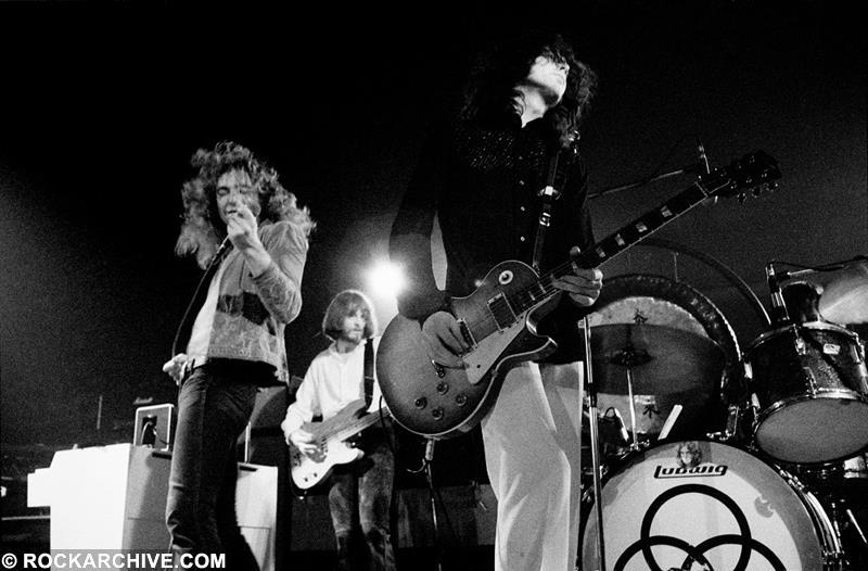 Led Zeppelin live onstage at K.B. Hallen in Copenhagen, Denmark on the first night of their 1973 European Tour. Their setlist included 'Rock and Roll', 'Whole Lotta Love' and 'Stairway to Heaven'. © Jorgen Angel