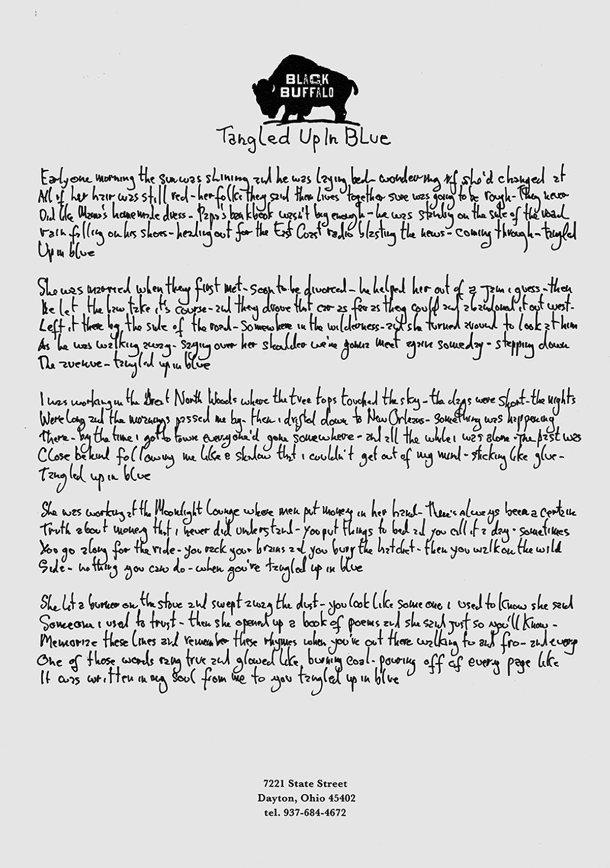 "Dylan's handwritten lyrics to ""Tangled Up in Blue"". Image courtesy of Halcyon Gallery / Bob Dylan"