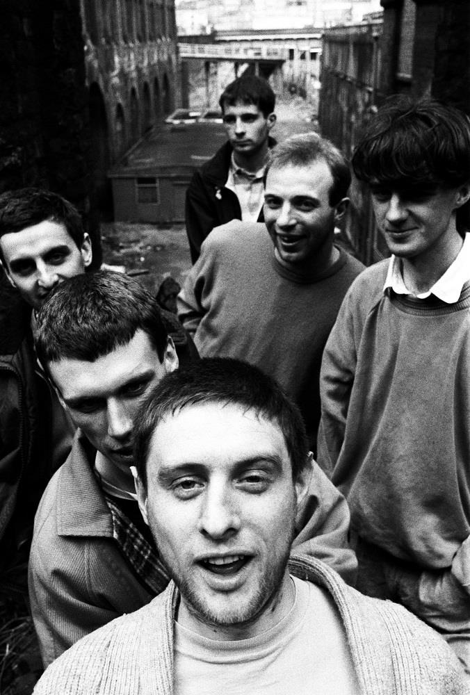 Happy Mondays messing about in Clerkenwell, London in 1986 © Steve Double