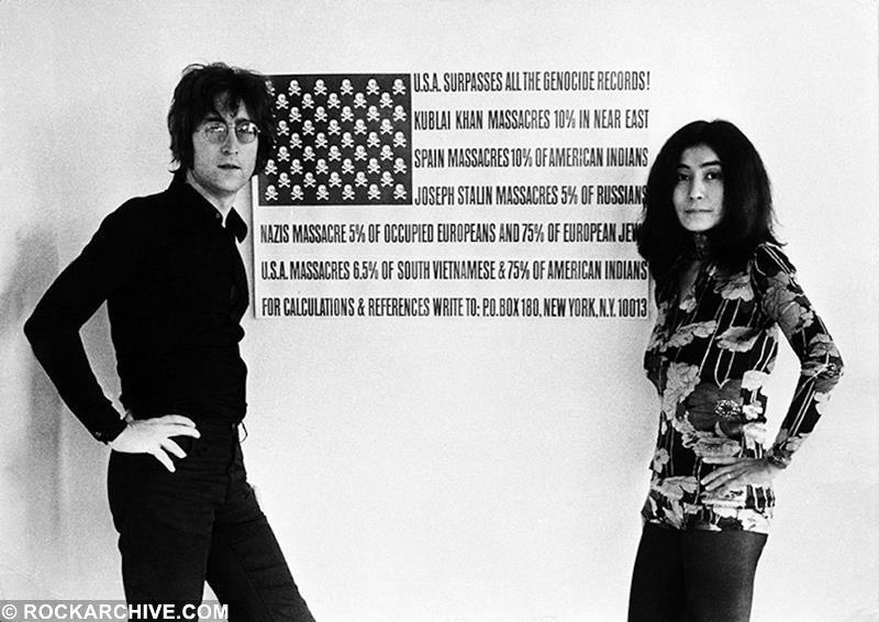 John Lennon and Yoko Ono in the kitchen of their home in Ascot, UK in 1971, the same year 'Gimme Some Truth' was released. © Barrie Wentzell