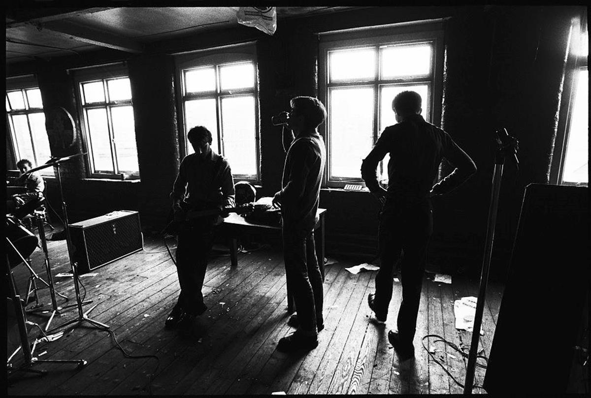 Classic early shot of Joy Division at TJ Davidson Rehearsal Room, Manchester in January 1979 ©