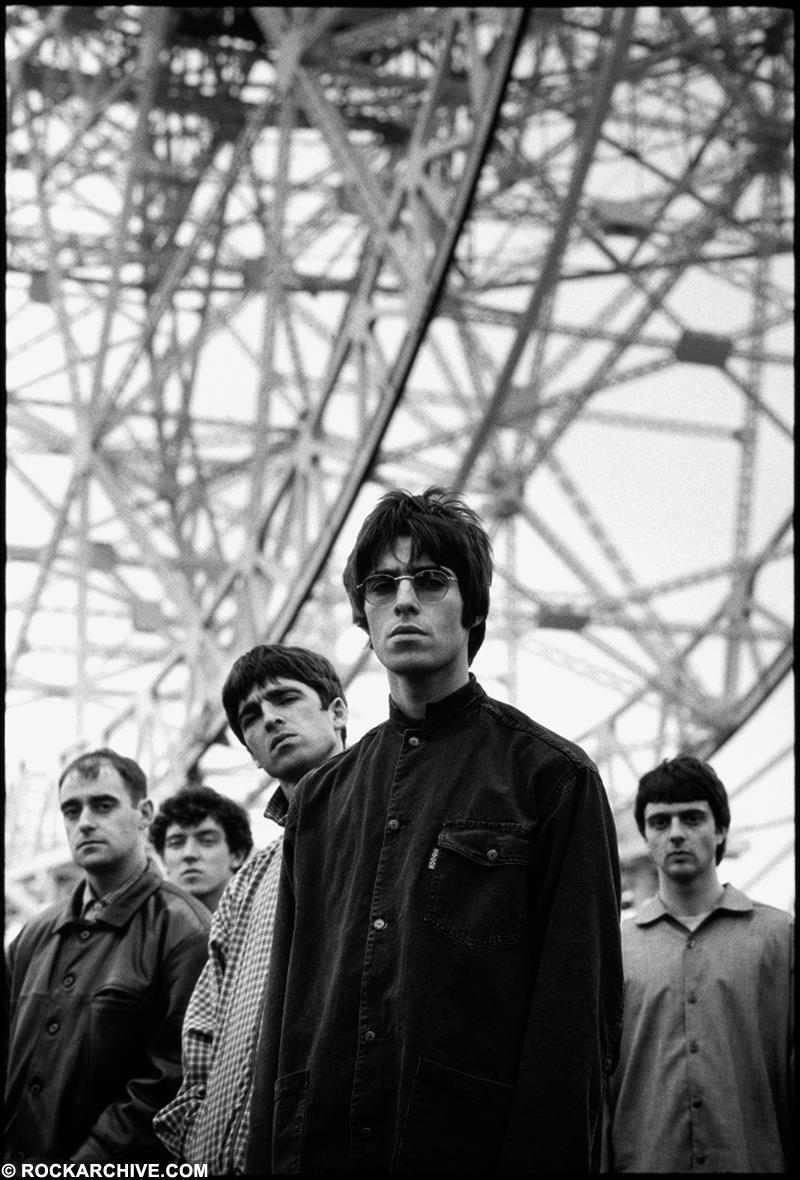 Oasis pictured at Jodrell Bank Observatory, Cheshire in June 1994. © Steve Double