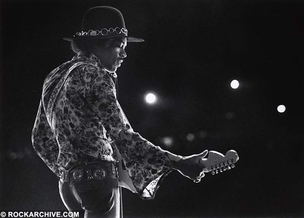 Hendrix playing at the Woburn Music Festival, Woburn UK in 1968. © Barrie Wentzell