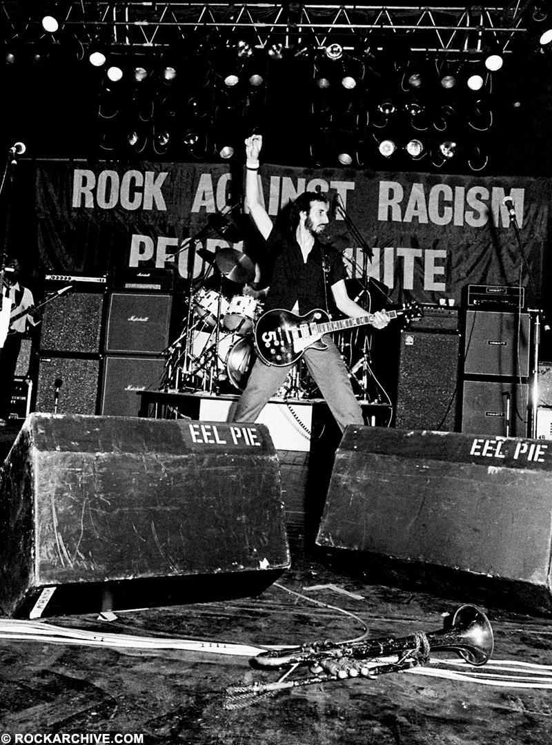 Townshend playing at 'The Southall Kids are Innocent' benefit gig in 1979, which was organised by Rock Against Racism. © Syd Shelton