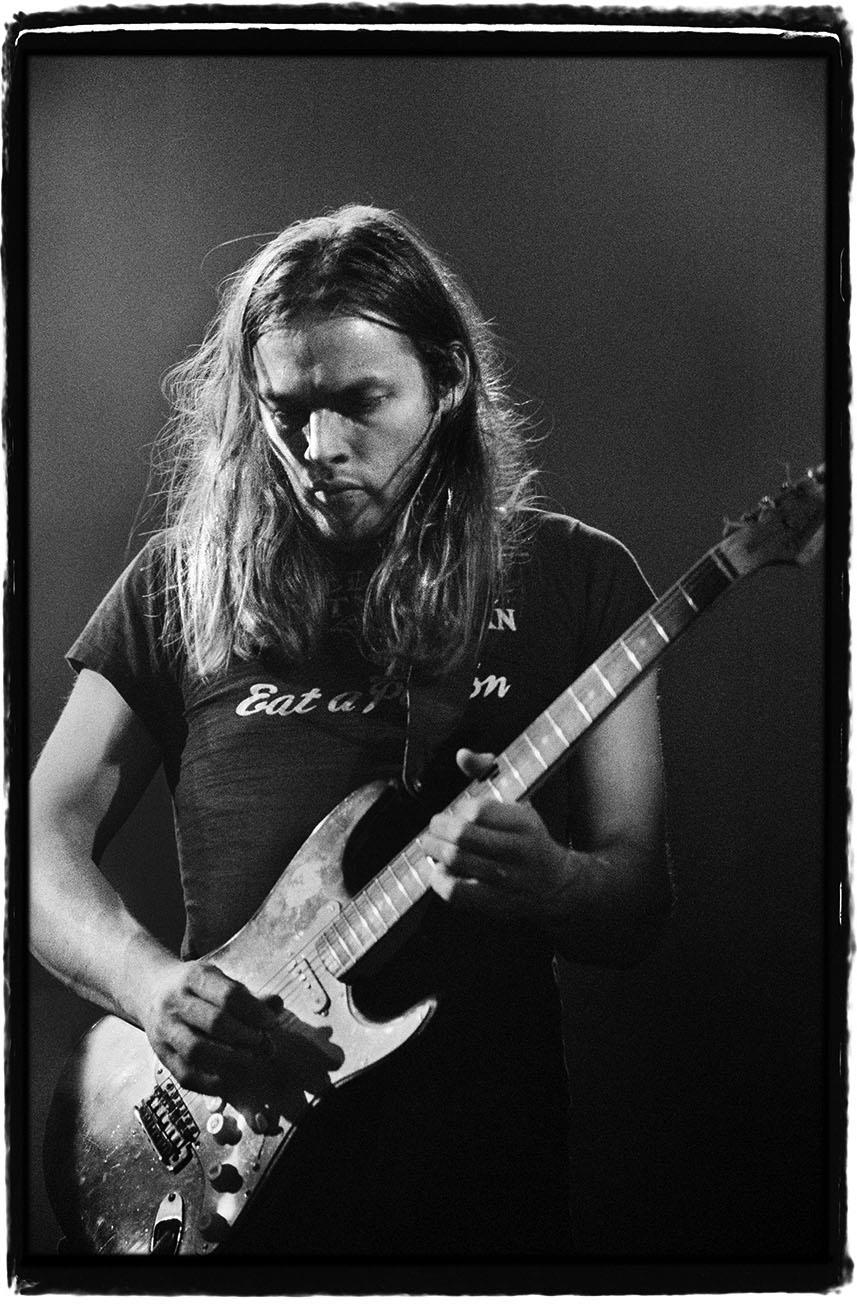David Gilmour playing his legendary Black Strat at the Rainbow Theatre, 1973 @ Jill Furmanovsky